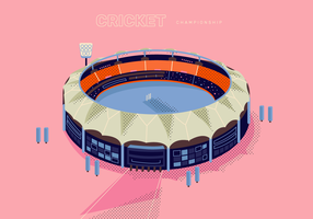 Illustrazione del fondo di vettore di vista superiore dello stadio del cricket