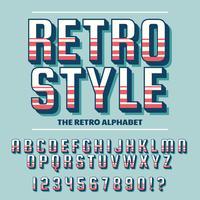 Vettore di retro font e alfabeto