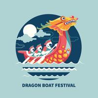 Festival della barca del drago in Asia orientale vettore