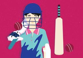 vettore di mazza da cricket
