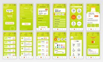 Set di UI, UX, schermate GUI Modello di app flat design per applicazioni mobili, wireframe di siti Web reattivi. Kit UI di progettazione Web. Shopping Dashboard. vettore