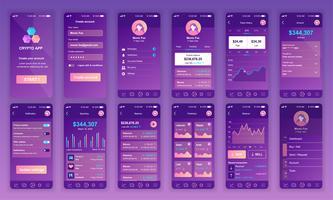 Set di UI, UX, schermate GUI Modello di design piatto app Cryptocurrency per applicazioni mobili, wireframe sito reattivo. Kit UI di progettazione Web. Cryptocurrency Dashboard.