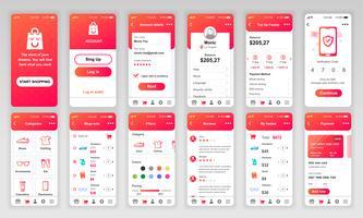 Set di UI, UX, schermate GUI Modello di app flat design per applicazioni mobili, wireframe di siti Web reattivi. Kit UI di progettazione Web. Shopping Dashboard.