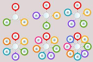 Set di modello infografica del passo o del diagramma del flusso di lavoro 3-8 passi