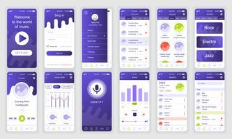 Set di UI, UX, schermate GUI Modello di app flat design musicale per applicazioni mobili, wireframe di siti Web reattivi. Kit UI di progettazione Web. Music Dashboard.