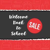 di nuovo al manifesto di vendita di scuola sul fondo del contorno di forniture di scuola