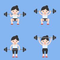 atleta simpatico personaggio sollevatore di pesi con bilanciere, sollevamento pesi impostato in stile piatto vettore