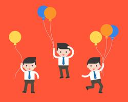 uomo d'affari e palloncini, carattere aziendale pronto per l'uso