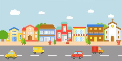 Downtown Landscape, design piatto vettore moderno villaggio
