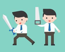 Uomo d'affari sveglio o responsabile che tiene spada e sega, carattere pronto per l'uso