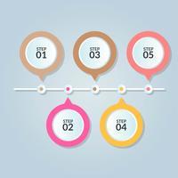 Modello di infografica di cinque fasi o diagramma del flusso di lavoro
