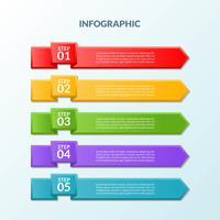 Modello di infographic di bandiera 5 passi o diagramma del flusso di lavoro