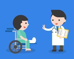 Medico e paziente della gamba rotta in sedia a rotelle, progettazione piana circa l'assicurazione contro gli infortuni vettore