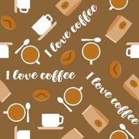 Reticolo senza giunte del caffè per uso come carta da parati, regalo di carta da imballaggio o sfondo, design piatto