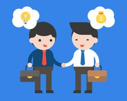 L'uomo d'affari due fa un contratto di affare fra idea e soldi