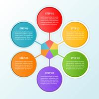 Modello di infografica del diagramma di flusso o di lavoro della connessione di 6 cerchi
