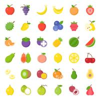 Set di icone piatto di frutta carino, come arancia, kiwi, cocco, banana, papaia, pesca vettore