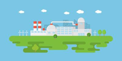 Industria pulita, banner di fabbrica di energia verde in stile piatto vettore