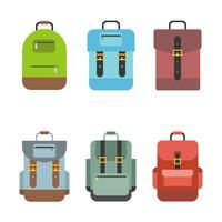 L'icona della borsa include zaino, zaino, borsa da scuola, design piatto