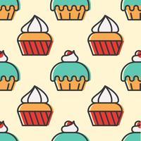 Modello senza cuciture colorato Cupcake carino per il regalo di carta da imballaggio vettore