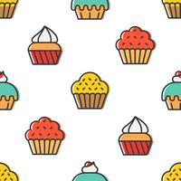 Modello senza cuciture colorato Cupcake carino per il regalo di carta da imballaggio
