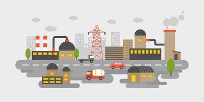 Zona industriale, vista di scenario di fabbrica nel concetto di inquinamento design piatto