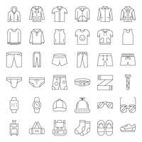 Set di icone linea sottile di vestiti e accessori maschili 2 vettore