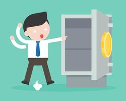 Uomo d'affari paranoico perché oro e denaro sono stati rubati dalla cassaforte vettore