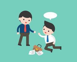 Uomo di affari che si aiuta a vicenda a cadere