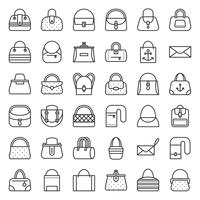 Borsa di moda di vario tipo come borsa con telaio, borsa, borsa eco, botte, jeans vettore