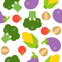 Modello senza cuciture di broccoli, pomodoro, cipolla, melanzane e mais vettore