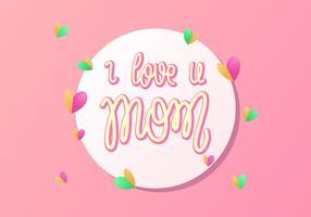 Vettore di tipografia della mamma di U di amore dell'iscrizione della mano