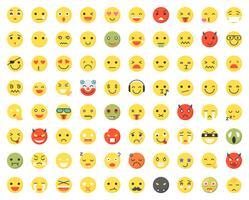 Set di varie emoji con diversi volti ed espressioni vettore
