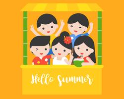 Persone felici con costume estivo estivo, ciao concetto di estate