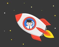 Viaggio dell'uomo d'affari in un razzo nello spazio, concetto di affari che cerca nuova probabilità