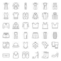 Set di icone di sottile vestiti femminili, borsa, scarpe e accessori 2 vettore