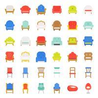 Divano e sedia, set di icone di design piatto