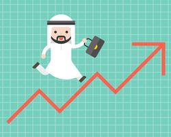 Uomo arabo sveglio di affari che funziona sulla freccia su, concetto di situazione aziendale