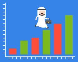 Uomo d'affari arabo sveglio che funziona sul grafico dell'istogramma, situazione aziendale vettore