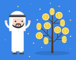 Uomo d'affari arabo sveglio felice perché pianta dei soldi, situazione aziendale