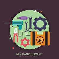 Disegno concettuale dell'illustrazione del toolkit del meccanico