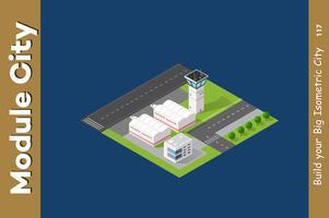 Aeroporto 3D della città isometrica vettore