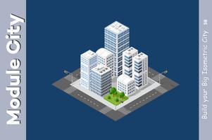 Urban isometric skyscraper vettore