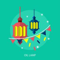 Progettazione concettuale dell'illustrazione della lampada a olio