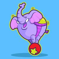 circo elefante carino giocando a palla vettore