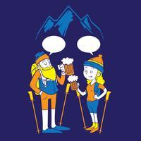 gente che fa un'escursione e beve birra vettore