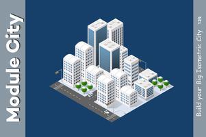 Città isometrica invernale vettore