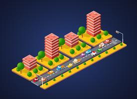 Paesaggio della città 3d colorato