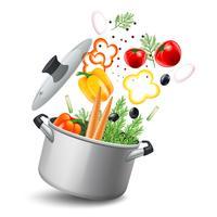 Casseruola con illustrazione di verdure vettore