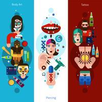 Bandiere verticali di Bodyart Tattoo Piercing